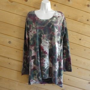 Soft Surroundings Waterlily Floral Sweater Tunic L